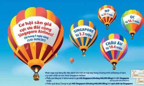 Vé máy bay Singapore Airline khuyến mãi