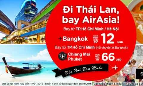Air Asia: Khuyến Mãi Đi Thái Lan Từ 12 USD