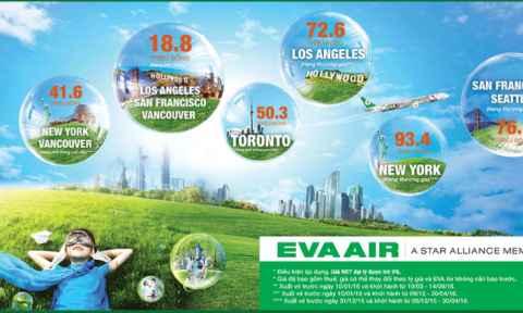 Eva Air khuyến mãi đi Mỹ và Canada giá rẻ