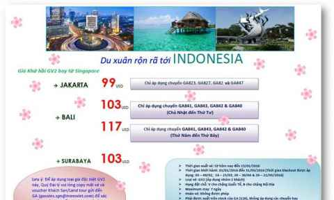 Garuda Indonesia khuyến mãi giá vé khứ hồi từ Singapore