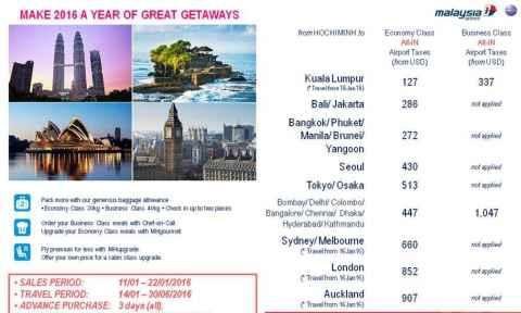 Malaysia Airlines: Khuyến Mãi Chào Xuân Giá Chỉ Từ 127 USD