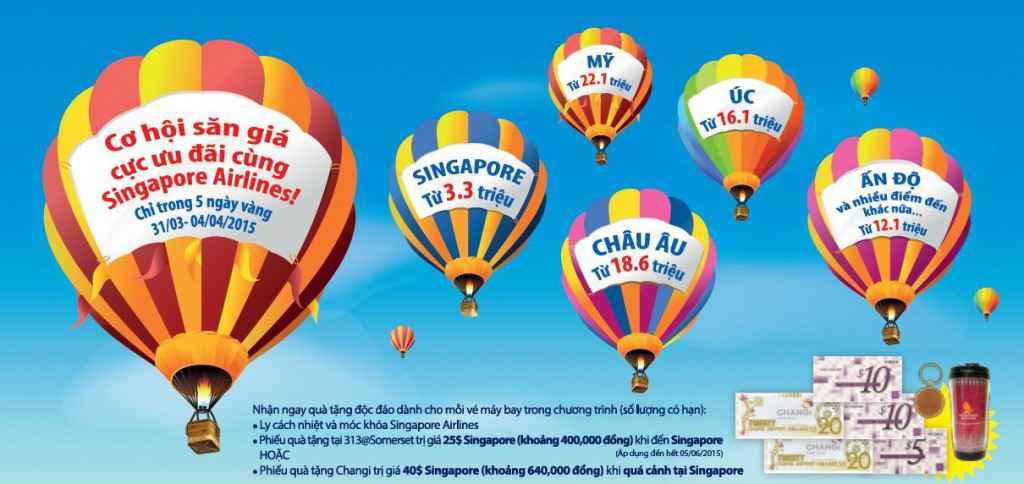 vé máy bay singapore airlines khuyến mãi